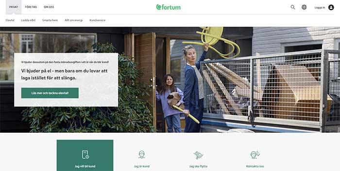 Skärmdump av Fortums hemsida