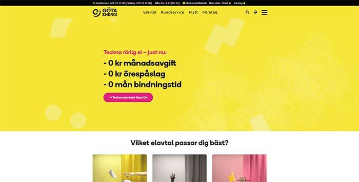 Skärmdump av Göta Energis hemsida